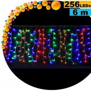 Guirlande rideau lumineux 256 LEDs multicolores 6m