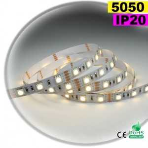 Ruban Led blanc SMD 5050 IP20 60leds/m sur mesure