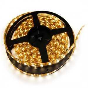 Strip 60 LEDs Blanc Chaud rouleau flexible autocollant de 5m