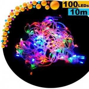 Guirlande lumineuse animée de 100 LEDs multicolores - 10 mètres pour intérieur ou extérieur