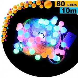 Guirlande cerise animée de 80 LEDs multicolore - 10 mètres