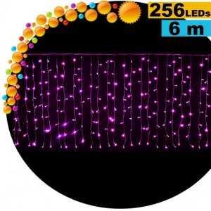 Guirlande rideau lumineux 256 LEds violettes 6m pour vitrine