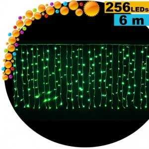 Guirlande rideau lumineux 256 LEds vertes 6m