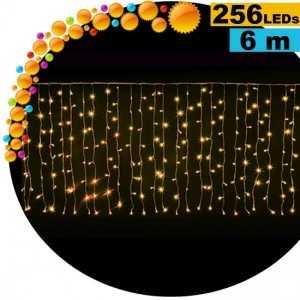 Guirlande rideau lumineux 256 LEds gold 6m