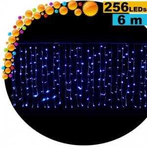 Guirlande rideau lumineux 256 LEds bleues 6m