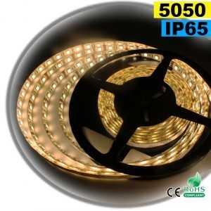 Ruban Led blanc chaud leger SMD 5050 IP65 60leds/m sur mesure