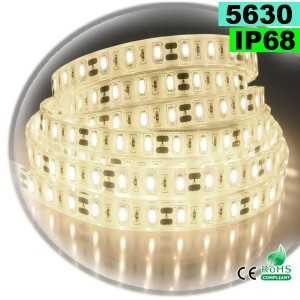 Ruban Led blanc chaud léger SMD 5630 IP68 60leds/m sur mesure