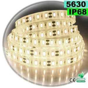 Ruban Led blanc chaud léger SMD 5630 IP68 60leds/m sur mesure