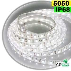 Ruban Led blanc SMD 5050 IP68 60leds/m sur mesure