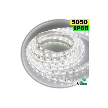 Ruban Led blanc SMD 5050 IP68 60leds/m sur mesure