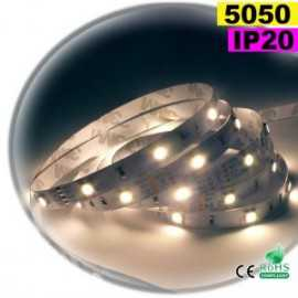Ruban Led blanc SMD 5050 IP20 30leds/m 5m