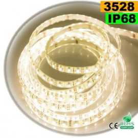 Ruban Led blanc chaud leger SMD 3528 IP68 60leds/m sur mesure