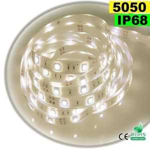 Ruban Led blanc chaud leger SMD 5050 IP68 30leds/m sur mesure