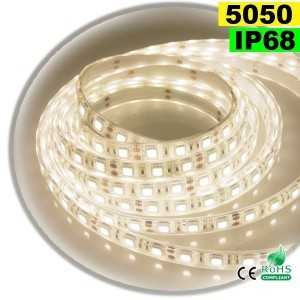 Ruban Led blanc chaud leger SMD 5050 IP68 60leds/m sur mesure