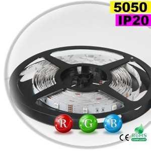 Ruban Led RGB SMD 5050 IP20 30leds/m rouleau de sur mesure