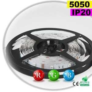 Ruban Led RGB SMD 5050 IP20 30leds/m rouleau de sur mesure