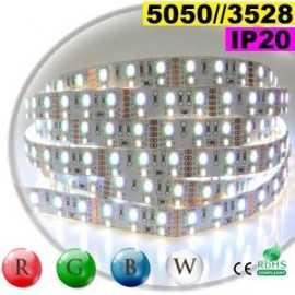 Ruban LEDs RGB-W IP20 - Double assemblage de LEDs 5050 et 3528 sur mesure
