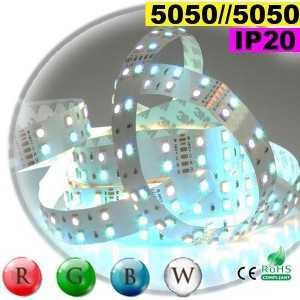Ruban LEDs large RGB-W de 20mm IP20 - Double assemblage de LEDs 5050 sur mesure