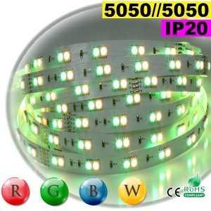 Ruban LEDs 24 volts RGB-WW IP20 - Double assemblage juxtaposer de LEDs 5050 sur mesure
