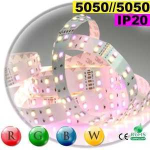 Ruban LEDs large RGB-WW de 20mm IP20 - Double assemblage de LEDs 5050 sur mesure