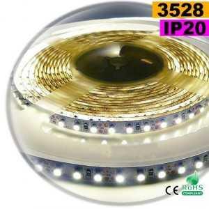 Ruban Led blanc chaud leger SMD 3528 IP20 120leds/m sur mesure