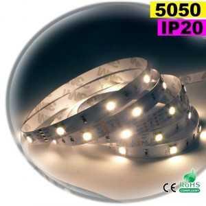Ruban Led blanc chaud leger SMD 5050 IP20 30leds/m sur mesure