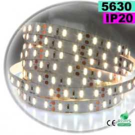 Ruban Led blanc chaud leger SMD 5630 IP20 60leds/m sur mesure