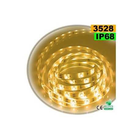 Ruban Led blanc chaud SMD 3528 IP68 30leds/m sur mesure