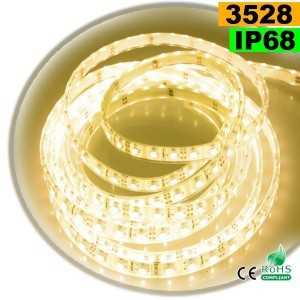 Ruban Led blanc chaud SMD 3528 IP68 60leds/m sur mesure