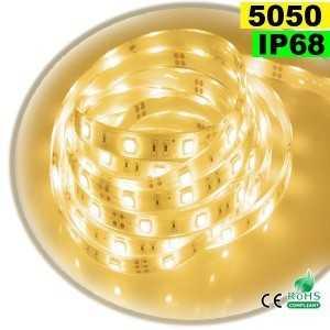 Ruban Led blanc chaud SMD 5050 IP68 30leds/m sur mesure