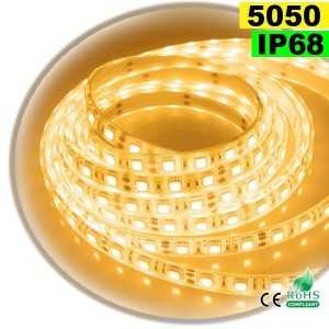 Ruban Led blanc chaud SMD 5050 IP68 60leds/m sur mesure