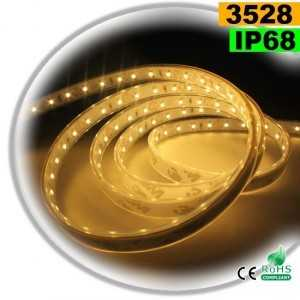 Ruban Led blanc chaud SMD 3528 IP68 120leds/m sur mesure