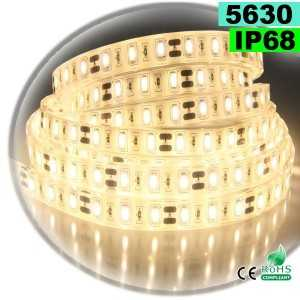 Ruban Led blanc chaud SMD 5630 IP68 60leds/m sur mesure