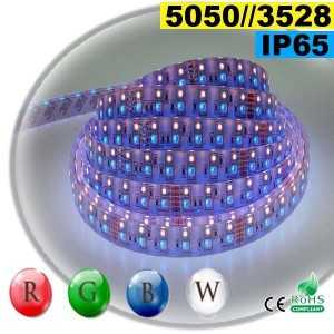 Ruban LEDs RGB-W IP65 - Double assemblage de LEDs 5050 et 3528 sur mesure