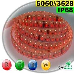 Ruban LEDs RGB-WW IP68 - Double assemblage de LEDs 5050 et 3528 5 mètres